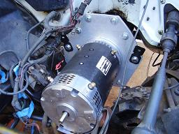 EV conversion motor installed from front